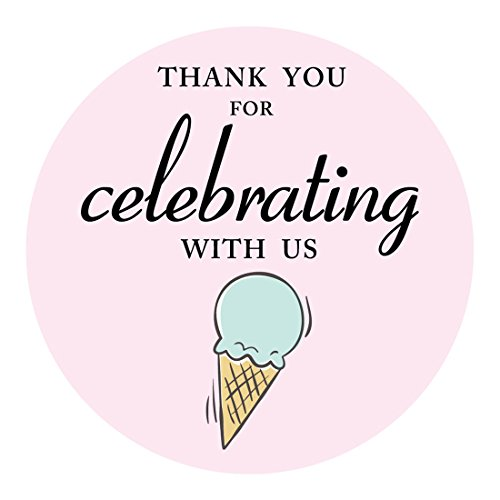 MAGJUCHE Ice Cream Thank You Stickers, Ice Cream Themed Party Sticker Labels for Favors, Decorations, 2 Inch Round, -
