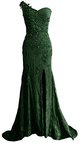 e sera sirena spallina ballo Dark da una Green modello abito donna da in da lungo ad pizzo Macloth formale fqxIApf