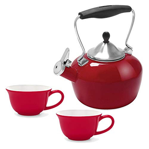 - Chantal 1.8-Quart Catherine Teakettle, Apple Red with 2-Piece 8-Ounce Tea Lover's Mug, Red and White