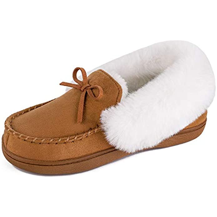 HomeIdeas Women's Faux Fur Lined Suede Moccasin Memory Foam House Slippers, Fuzzy Warm Indoor Outdoor Bedroom Shoes