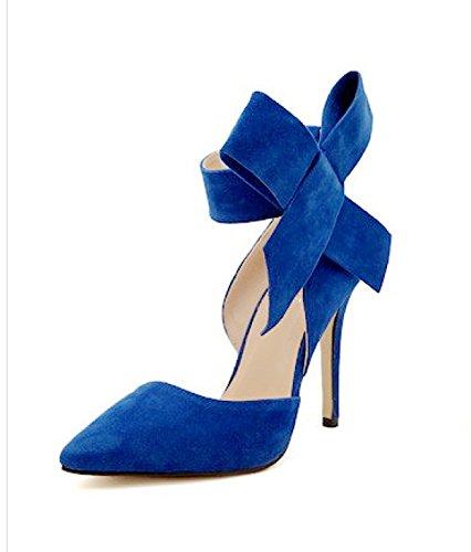 GRRONG Zapatos De Mujer Zapatos De Tacón Alto Las Mujeres Escoge Los Zapatos De Gran Tamaño Blue