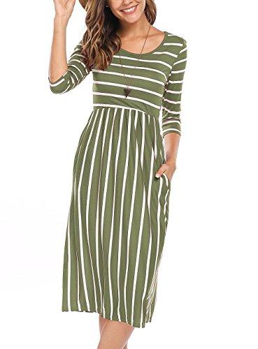 Naggoo Women's 3/4 Sleeve Striped Dress Elastic Waist Tunic T-Shirt Dress with Pocket (S, Army Green)
