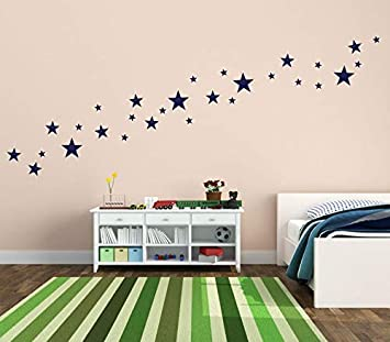 Wall Decals for Kids Room 155Pcs Dark Blue Mix Star 1Inch-2Inch-3Inch-4Inch