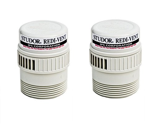 Studor 20346 REDI-VENT Air Admittance Valve, 1-1/2'' or 2'' PVC Adapter, White (2-Pack) by Studor