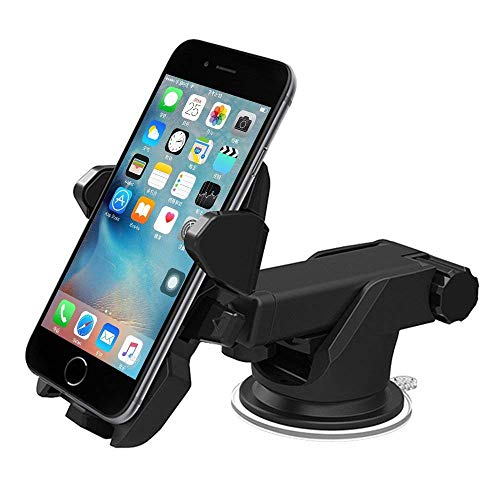 Universal Car Mount Holder, Long Neck One Touch Car Mount Holder Compatible for iPhone X 8 7 7s 6s Plus 6s 5s 5c Samsung Galaxy S8 Edge S7 S6 Note 5 Car Stand More (Black)