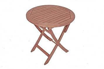 Table ronde pliante de jardin en bois d\'eucalyptus fSC huilé