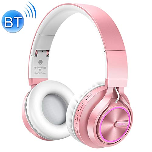 ZL-U Headphones B6 Over-Ear Wireless Headphones Adjustable Foldable Bluetooth Headset with Mic(Black) (Color : Rose Gold)