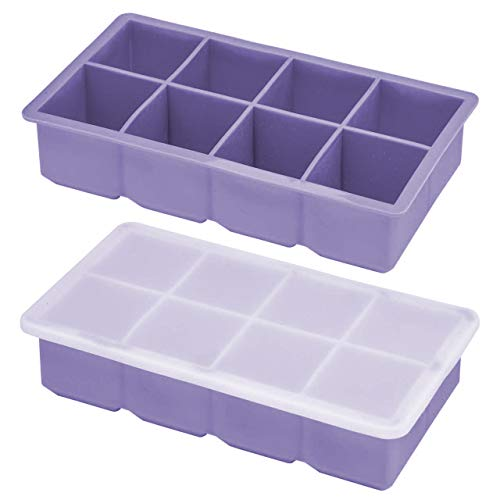 OMorc Ice Cube Trays 2 Pack,100% Silicone Easy Release, 2 inch Large Square Cubes, Flexible and Stackable Ice Trays with Spill-Resistant Removable Lids, BPA Free and Dishwasher Safe