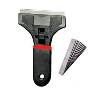 "Comfortable Rubber Grip Handle 6"" Razor Blade Scraper With Soft Grip Plus 5 Free Blades Professional's choice"