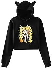 Opfans Crop Top Hoodie with My Hero Academia Kaminari Denki Chargezuma Anime Sweater Pullover for Girls Boku No Hero Academia