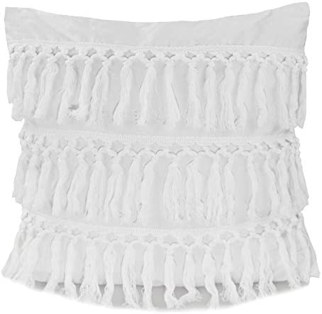 Fennco Styles Stylish Fringe Tassels Decorative Cotton Throw Pillow White, 18 x18 Case Insert