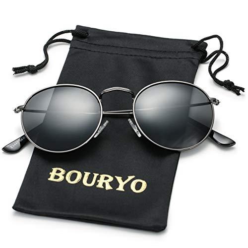 BOURYO Classic Small Round Polarized Sunglasses for Men Women Metal Frame Mirrored Lens Sun Glasses 3447(Gunmetal/Black)