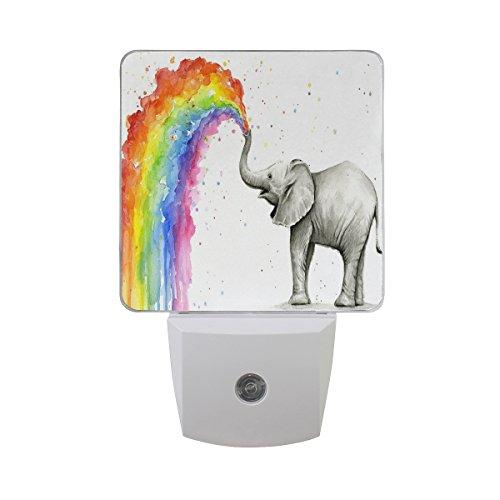 2 Pack Plug-in LED Night Light Lamp Baby Elephant Spraying Rainbow Printing with Dusk to Dawn Sensor for Bedroom, Bathroom, Hallway, Stairways, 0.5W - Elephant Infant Lamp