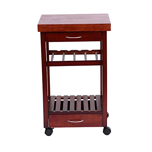 Festnight Kitchen Trolley Dining Storage Cart with Drawers and Wine Rack,Vintage Style by Festnight (Image #3)