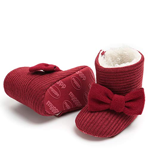 LIVEBOX Newborn Baby Cotton Knit Booties,Premium Soft Sole Bow Anti-Slip Warm Winter Infant Prewalker Toddler Snow Boots Crib Shoes for Girls Boys by LIVEBOX (Image #4)