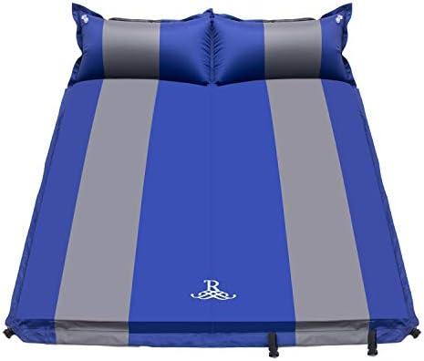 R Doppel Isomatte Selbstaufblasbare Campingmatratze mit 2 Kissen für Camping Outdoor, Super Komfort für 2 Personen 192 x 132 x 5 cm