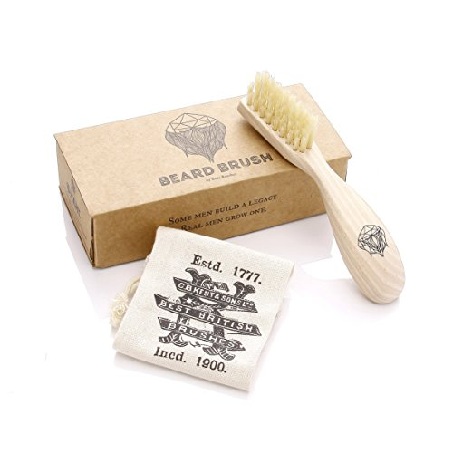 Kent BRD2 Men's Beard and Mustache Brush - Specially Cut Natural White Boar Bristle for Flawless Shaping, Grooming, and Facial Hair Care. Ergonomic Wood Handle for Better Grip. Best Gift for Men.