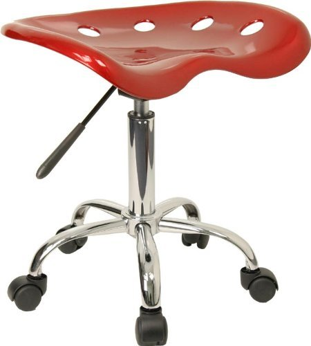 Vibrant Wine Red Tractor Seat and Chrome Stool [LF-214A-WINERED-GG] by Flash Furniture