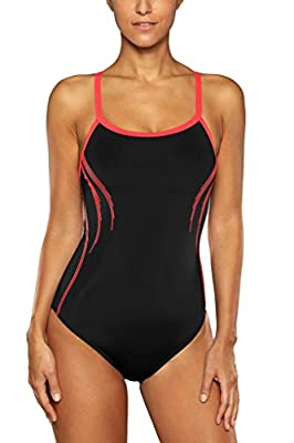 Sociala Women's Solid Pro One Piece Swimsuits Athletic Bathing Suits Swimwear
