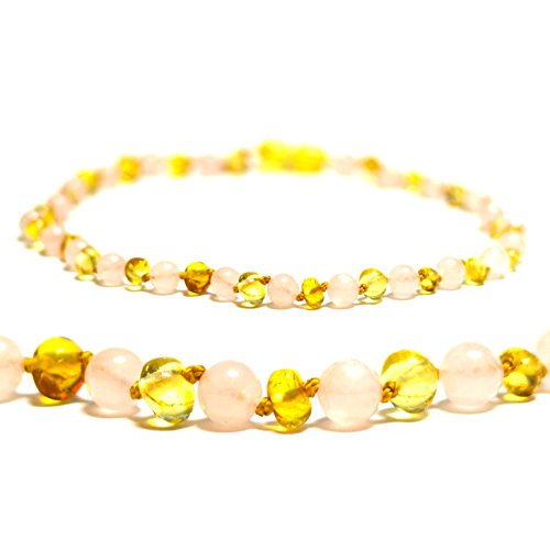 The Art of Cure Baltic Amber Teething Necklace - Rose (Amber Rose)