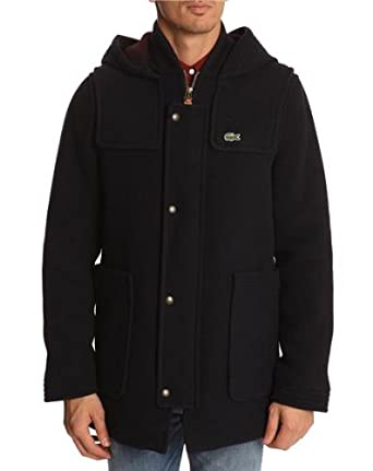 760fb2e24478 LACOSTE LIVE - Duffle Coats - Men - Blue Duffle Coat with Teddy Collar - 48   Amazon.co.uk  Clothing