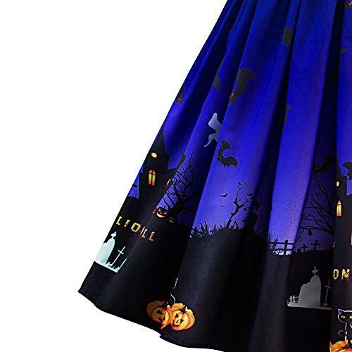 Chauve Fte d'halloween lgant Jupe Femme Women Dentelle 1 Courtes Robe Patchwork Citrouille Halloween Bleu Festival de Soire Longue Imprimes Fille Soire Souris Piebo Robe Rtro Robe Cocktail Manches xqfw4wRP
