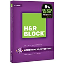 H&R Block Tax Software Deluxe 2017 [Federal Only] with 5% Refund Bonus Offer