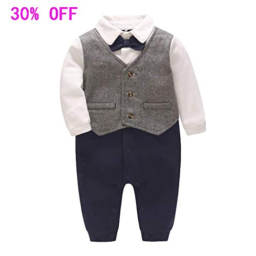 Fairy Baby Baby Boy Gentleman Outfit Formal Romper Infant Tuxedo Dress Suits (0-3Months, Silver Grey)