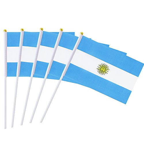Kind Girl Hand Held Argentina Flag Argentine Flag Stick Flag Mini Flag 50 Pack Round Top National Country Flags, Party Decorations Supplies for Parades,World Cup,Sports Events,International Festival