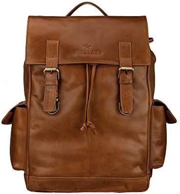 Finelaer Brown Leather Travel School College Bookbag Laptop Rucksack Backpack