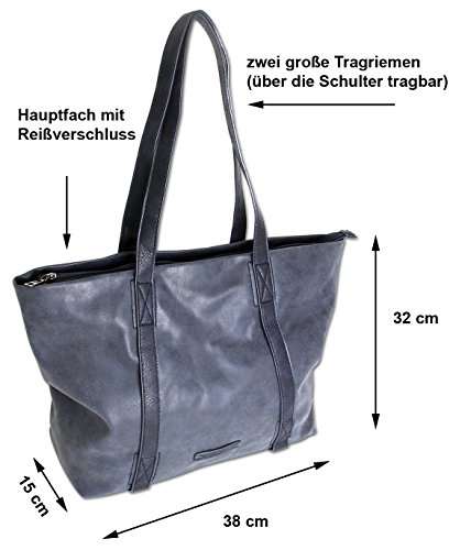 Edle Damen Handtasche Shopper Schultertasche mit 2 Henkeln Tragetasche Groß in 3 Farben (3448) (Cognac) Cognac