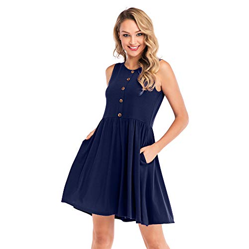 Favogirla Casual T Shirt Dress with Pockets Summer Button Down Shell Dresses Fit and Flare Solid Color Sleeveless Swing A Line Mini Beach Dress Sundress for Daily Office Wear,Navy XL