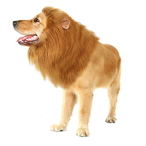 (GRE1BEE Dog Lion Mane Wig Realistic & Funny for Dogs Costumes Complementary Christmas Halloween Birthday Party for Dog Costumes Medium to Large Sized -Ear and)