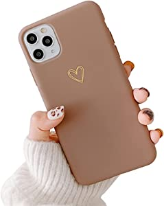 Ownest Compatible with iPhone 11 Pro Max Case for Soft Liquid Silicone Gold Heart Pattern Slim Protective Shockproof Case for Women Girls for iPhone 11 Pro Max-Brown
