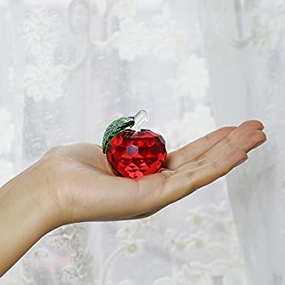 H&D Crystal Apple Paperweight 40mm Art Glass Apple Collectible Figurines Best for Christmas Eve Gifts Home Wedding Decor Gifts