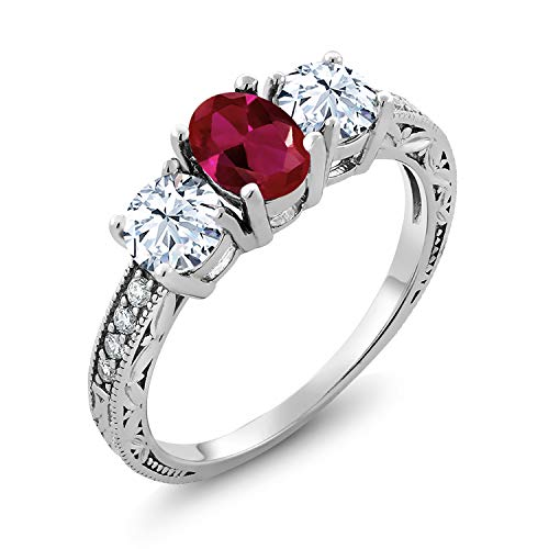 Gem Stone King 925 Sterling Silver Red Created Ruby Women's 3-Stone Women's Engagement Ring 2.52 Ctw Oval Available 5,6,7,8,9 (Size 5) ()