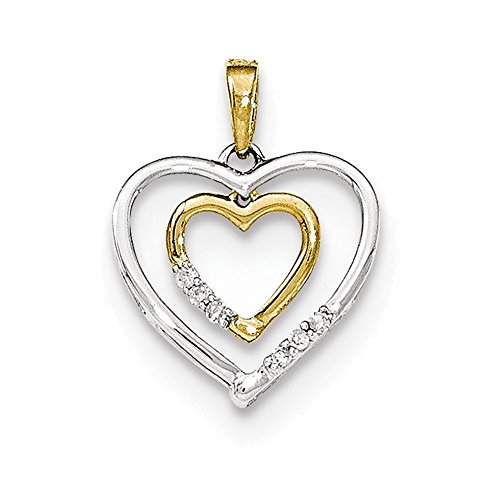14kt White w/ Yellow Gold Heart Charm Diamond Heart Pendant Diamond quality AA (I1 clarity, G-I color) (Gold 14kt Heart Italian Charm)