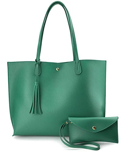 Minimalist Clean Cut Pebbled Faux Leather Tote Womens Shoulder Handbag (Green)