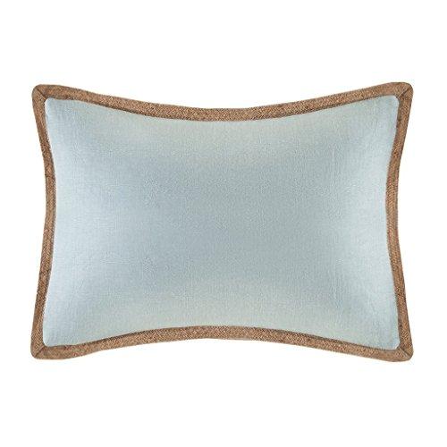 Madison Park Linen with Jute Trim Oblong Pillow-Blue-14×20, Blue