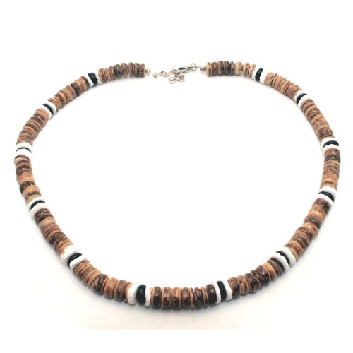 Tiger Brown Coco Bead Hawaiian Surfer Necklace with White Puka Shell and Black Coco Bead Accents, Lobster Lock (18 IN) (Coco Brown Bead Necklace Shell)