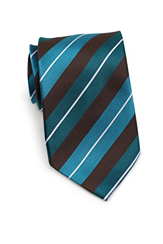 Bows-N-Ties Men's Necktie Luxe Stripes Silk Satin Tie 3.25 Inches (Teal, Turquoise) by PUCCINI