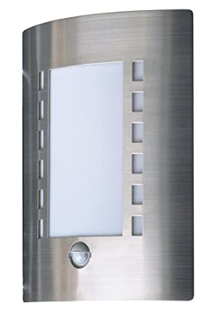 Smartwares 5000.086 Messina Luz de pared, Luz exterior, Acero inoxidable, Sensor de movimiento