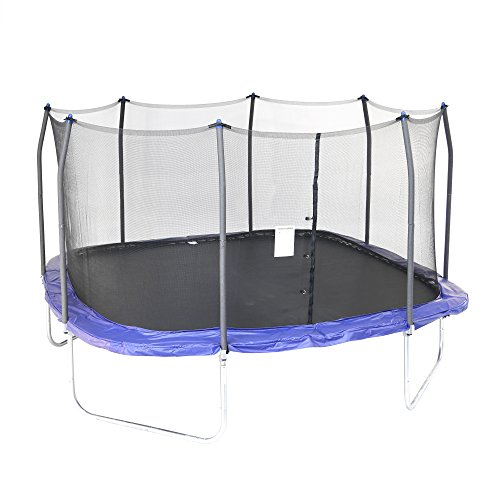Skywalker Trampolines 14-Foot Square Trampoline with Enclosure - Added Safety Features -...
