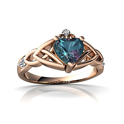 14kt Rose Gold Lab Alexandrite and Diamond 6mm Heart Claddagh Trinity Knot Ring - Size 6.5 (Knot Trinity Diamond Ring 14kt)