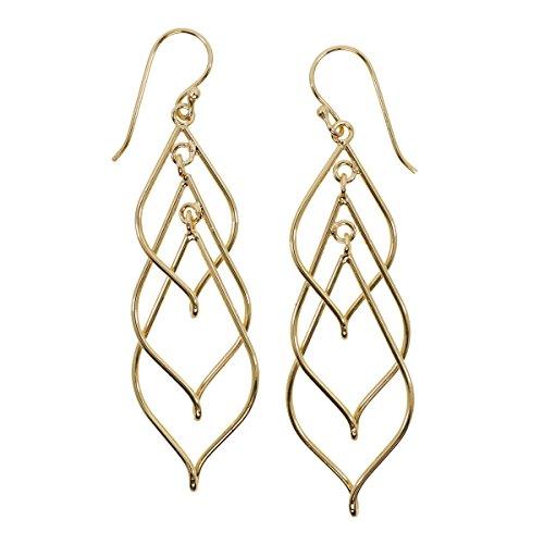 Gold Plated Linear Triple Swirl Earrings Triple Swirl Earrings