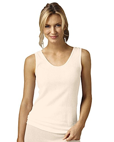 Indera 100% Cotton Rib Knit Camisole, Beige, 3XL, 3-pk - Misses, Womens (Knit Cotton Tank Rib)