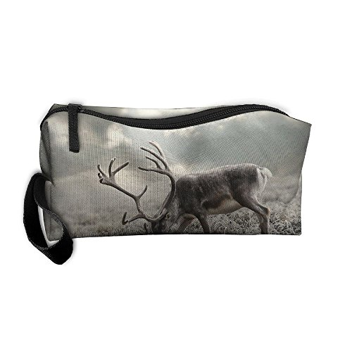 Portable Make-up Receive Bag Deer Travel&home Storage Bag Zipper Organization Space Saver Canvas Buggy Pouch ()