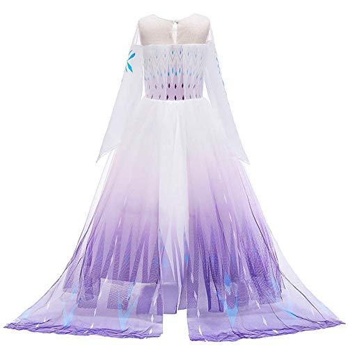 YOJOJOCO Princess Costume Halloween Girls' Dresses Birthday Party Dress Up Clothes for Little Girls Toddlers (8Y - 9Y, White+Purple)