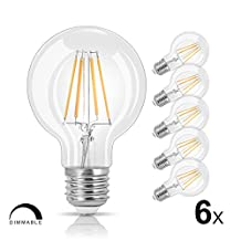 LVWIT G25 LED Vintage Filament Bulb 6.5W 800 Lumens Dimmable 2700K Warm White E26 Base Globe Light Bulb 60 Watt Equivalent Pack of 6