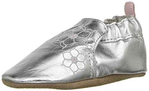 (Robeez Girls' Soft Soles Crib Shoe, Loved/Cherished - Silver, 0-6 Months M US Infant)